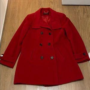 Ellen Tracy Red Pea Coat